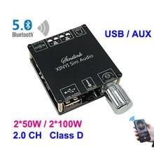 Bluetooth 5.0 2*50w 2*100w aux tpa3116 placa amplificador de potência digital alto-falante 2.0 ch estéreo casa módulo música sem fio áudio amp