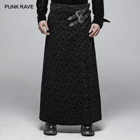 PUNK RAVE Men's Victorian Gothic Skirt Black Long Jacquard Kilt with Two Synthetic Vegan Leather Belts Personality Skirts Pants