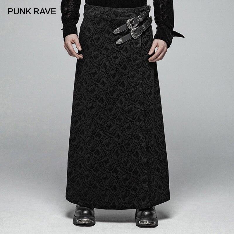 PUNK RAVE hommes victorien gothique jupe noir Long Jacquard Kilt avec deux synthétiques Vegan cuir ceintures personnalité jupes pantalon