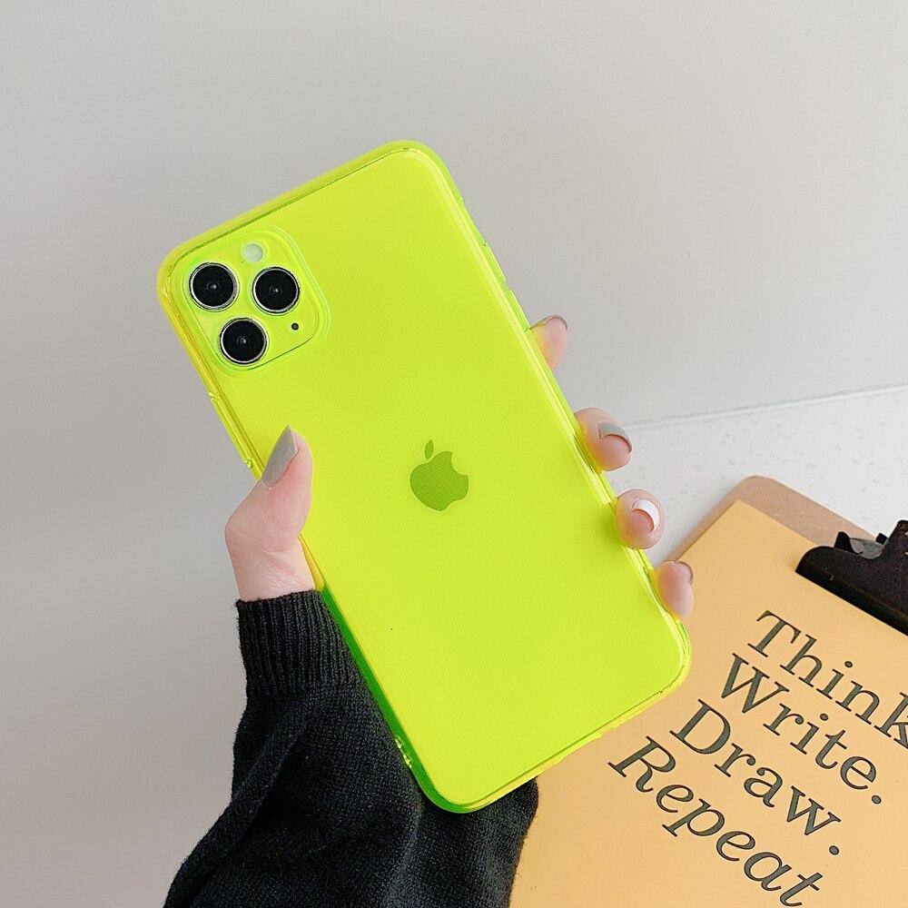 Custodie per telefoni a colori fluorescenti al Neon per iphone 12 11 Pro Max 12 Mini X XR XS Max 6 6S 7 8 Plus SE 2020 cover morbida completamente protetta 2