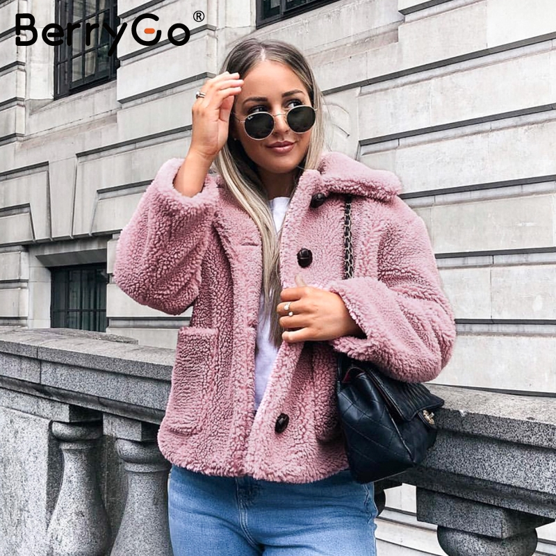 BerryGo Elegant Faux Fur Winter Coat Women Soft Autumn Female Pink Jacket Warm Coats Long Sleeve Casual Outwear Ladies Jackets