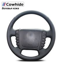 Handsewing Black Genuine Leather Steering Wheel Covers for Ssangyong Rexton Rexton W Rodius