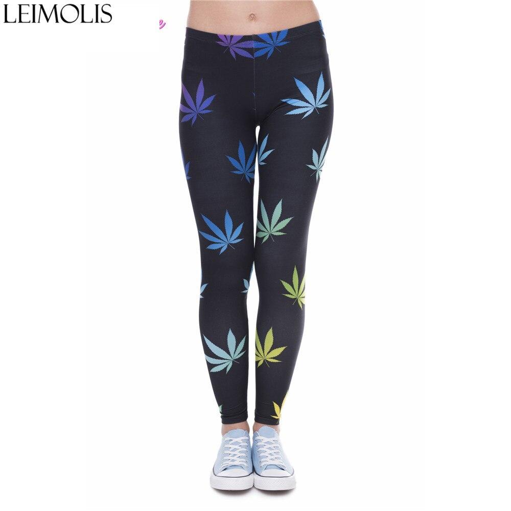LEIMOLIS 3D Print Colorful Maple Leaf Black Fitness Push Up Workout Leggings Women Harajuku High Waist Punk Rock Sexy Leggins