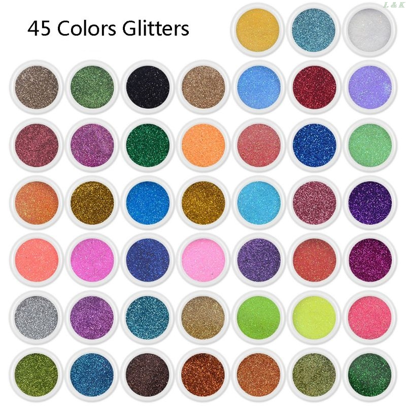 45 Colors Resin Pigment Mica Powder Glitters Sequains Nail Art Jewelry Making L29K