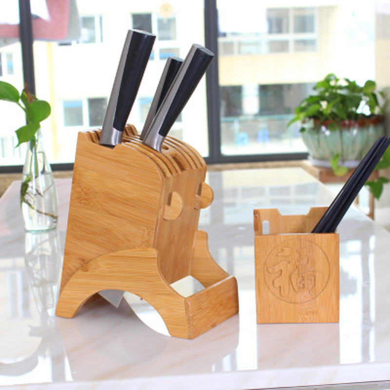 Chef Knife Bag Kitchen Bamboo Knife Holder Chopsticks Storage Shelf Storage Rack Tool Holder Bamboo Knife Block Stand Kitchen