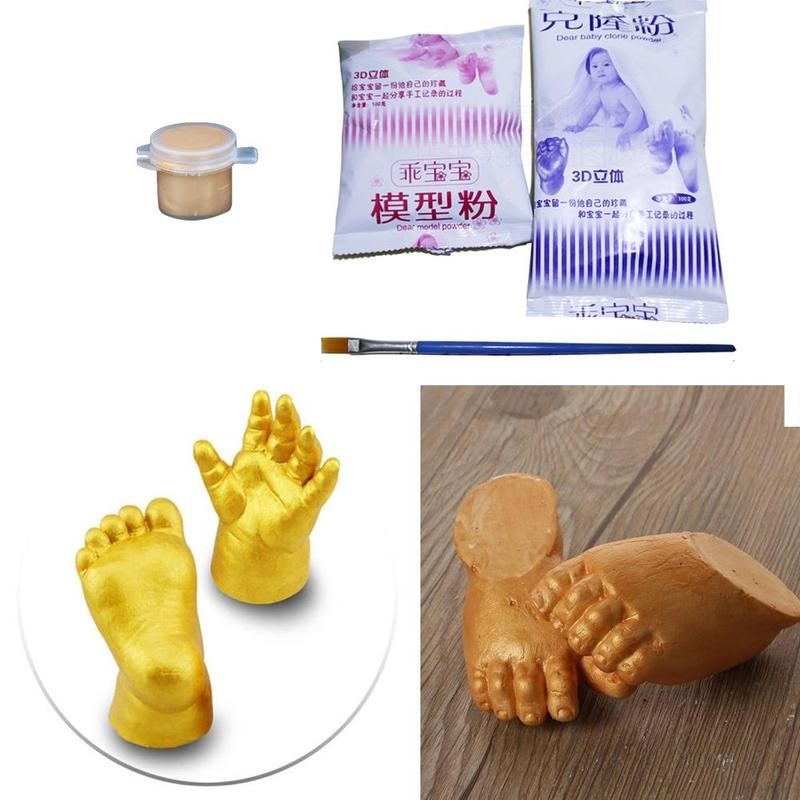 Baby 3d Hand +foot Print Mold Powder +gypsum+brush Plaster Casting Kit Handprint Footprint Keepsake Baby Growth Memorial Gift