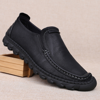 Monstceler Brand Men's Genuine Leather Shoes Fashion Manual Sewing Handmade Leisure Shoes Vintage Soft Sole Comfortable Footwear