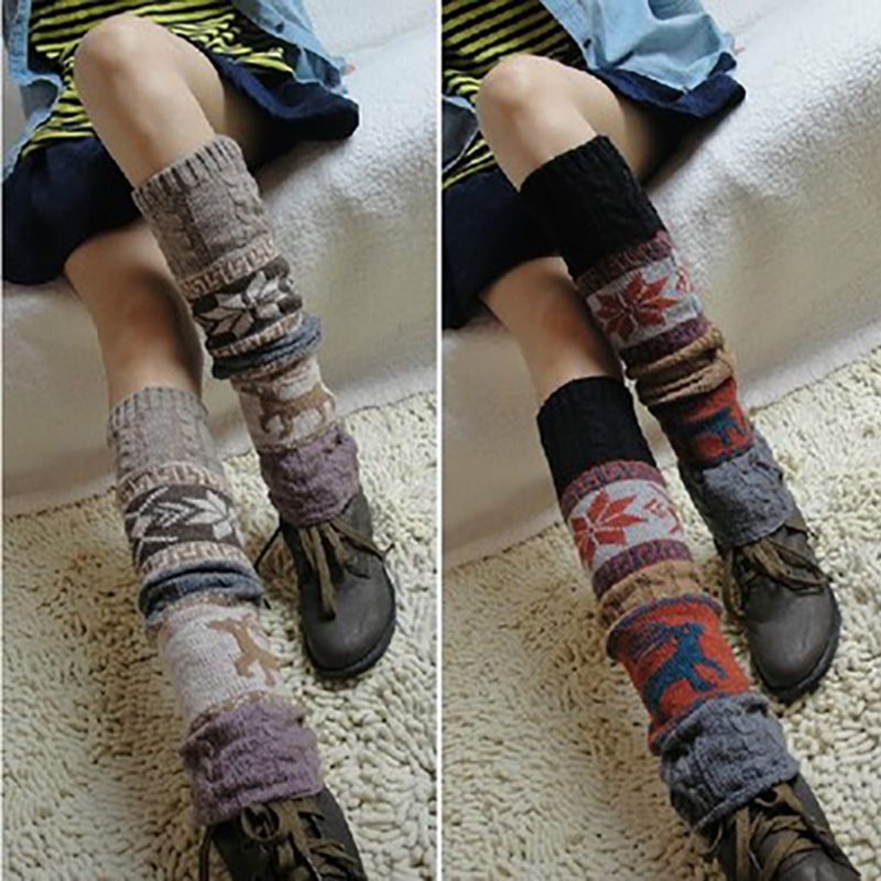 Female Sock Jacket Below Knee Pile Socks British Wind Twist Spotted Fawn Snowflake Autumn and Winter Leg Warmers Women Acrylic