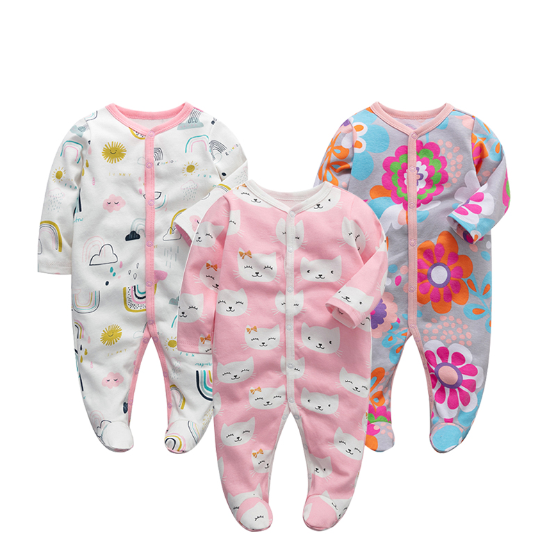 3pieces//Lot 100/% Cotton Baby Romper Long Sleeves Baby Pajamas Cartoon Printed Newborn Baby Girls Boys