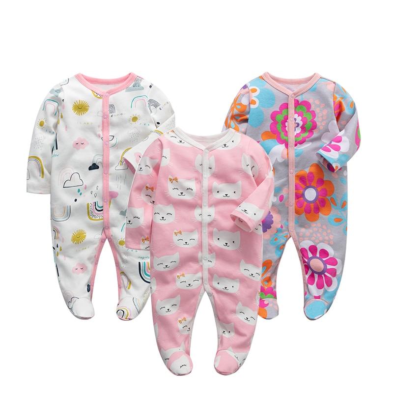 3 шт./лот, детские комбинезоны, Одежда для новорожденных девочек и мальчиков, 100% хлопок, детские пижамы с длинными рукавами, комплекты для мал...