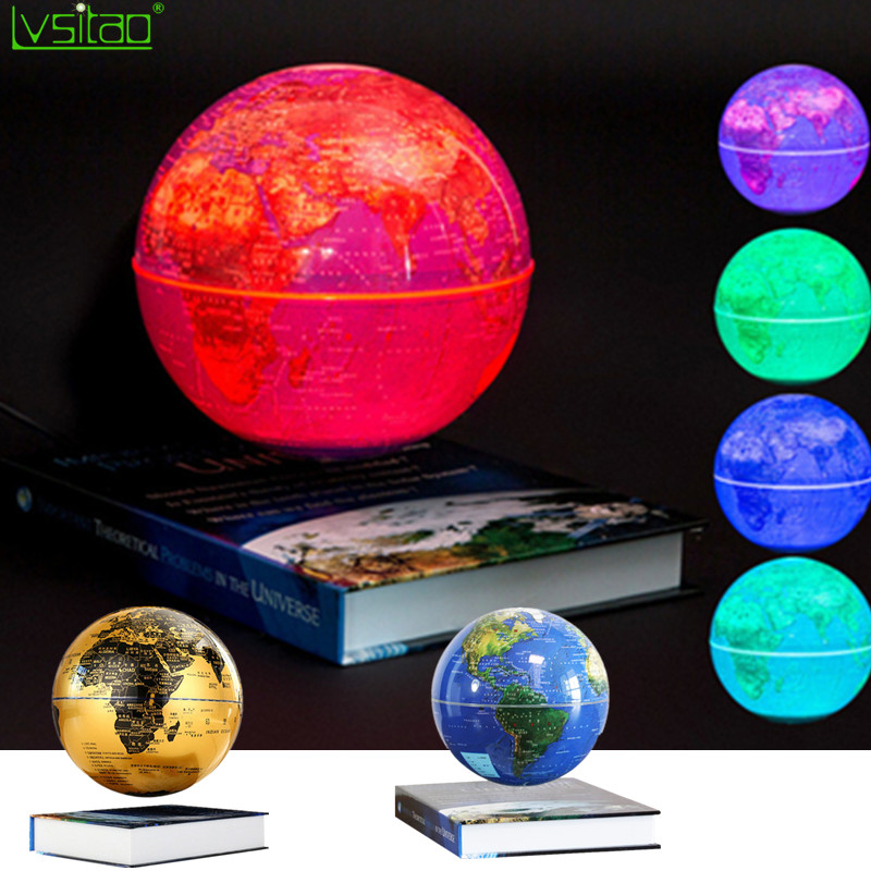 6inch Book Base Magnetic Suspension Globe Smart Adsorption Sphere Illumination 360 Rotating Creative Gifts Night Light Novelty