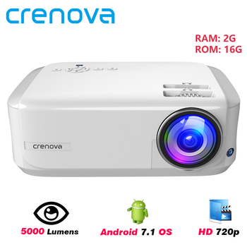CRENOVA 2019 Newest HD 720P Android 7.1OS Video Projector Support 4K Dolby Video Home Cinema Movie Beamer, Optional (2G 16G)