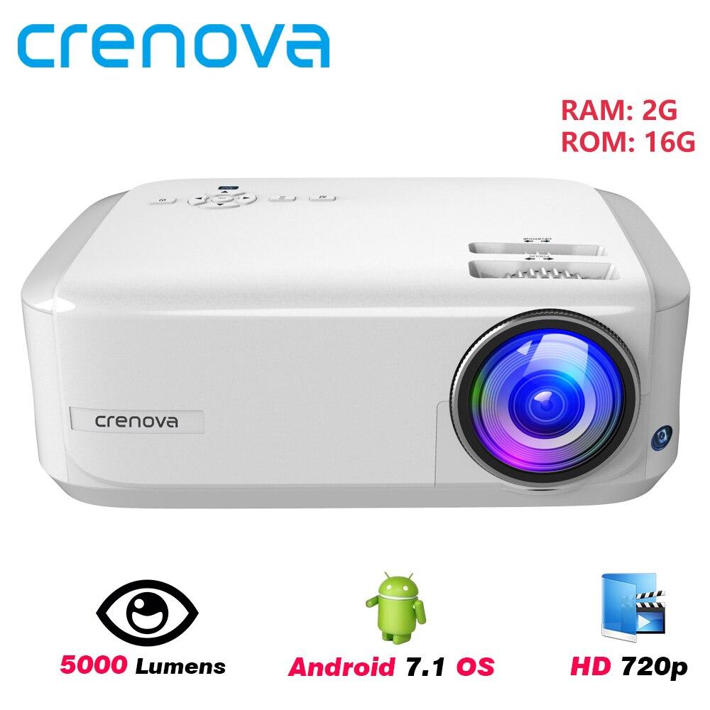 CRENOVA 2019 Mais Novo HD 1280*768P Suporte Projetor de Vídeo Android 7.1OS 4K Vídeos Home Cinema Beamer, opcional (2G 16G)