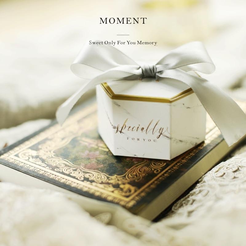 100 pièces créatif mariage bonbons boîtes avec rubans gris papier faveur sacs marbre imprimé chololate conteneur souvenir