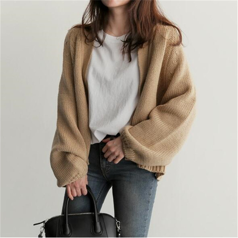 Casual Basic Sweater Cardigan Women 2019 Autumn Winter Solid Open Stitch Loose Sweater Women Jacket Korean Knit Outwear Female