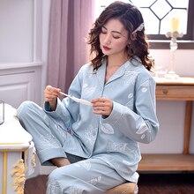 נשים 100% כותנה פיג מה PJ חורף סתיו ארוך שרוולים כפתור למטה הדפסת פיג מות כותנה טהורה הלבשת סט 2PCS pyjama Femme