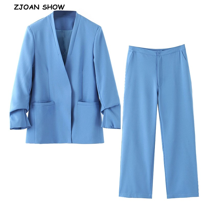 2019 New Autumn No Button V Neck Ruched Cuff Blazer Blue High Waist Small Straight Pants Long Sleeve OL Suits Women 2 Pieces Set
