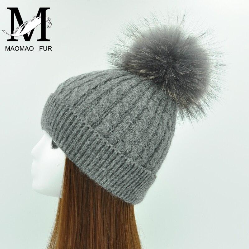 Winter Real Fur Ball Beanie Thick Knit Hat Women Warm Raccoon Fur Pom Poms Skullies Beanies Wool Knitted Hat