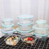 W nowym stylu szklane pudełko na lunch pudełko do przechowywania żywności pudełko bento do kuchenki mikrofalowej szkolne pojemniki na żywność z przegródkami w Pudełka śniadaniowe od Dom i ogród na