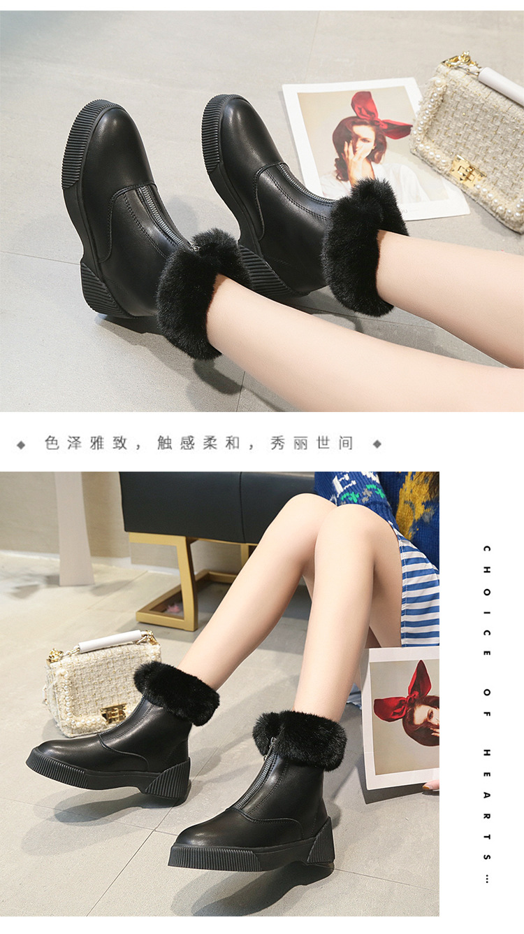 Women Short Ankle Boots Winter Plush Warm Thick Bottom Platform Round Toe Students Leisure Flat Ankle Snow Boots Botas Mujer 42
