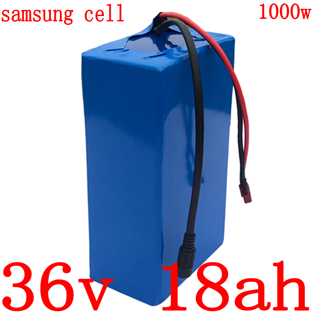36V 500W 1000W battery pack 36V 18AH electric bike battery 36V 18AH lithium battery use samsung  with 30A BMS and 42V 2A charger