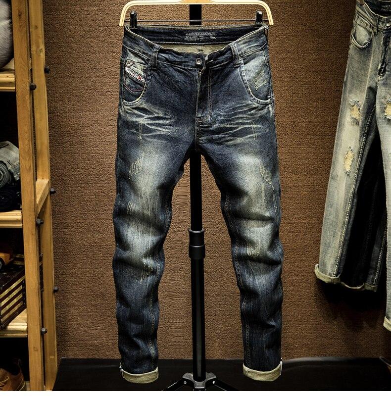 KSTUN Mens Dark Blue Jeans Pants Denim Slim Fit Elastic Casual Punk Jeans Men High Street Vintage Scratched Fashion Pockets Designer 11