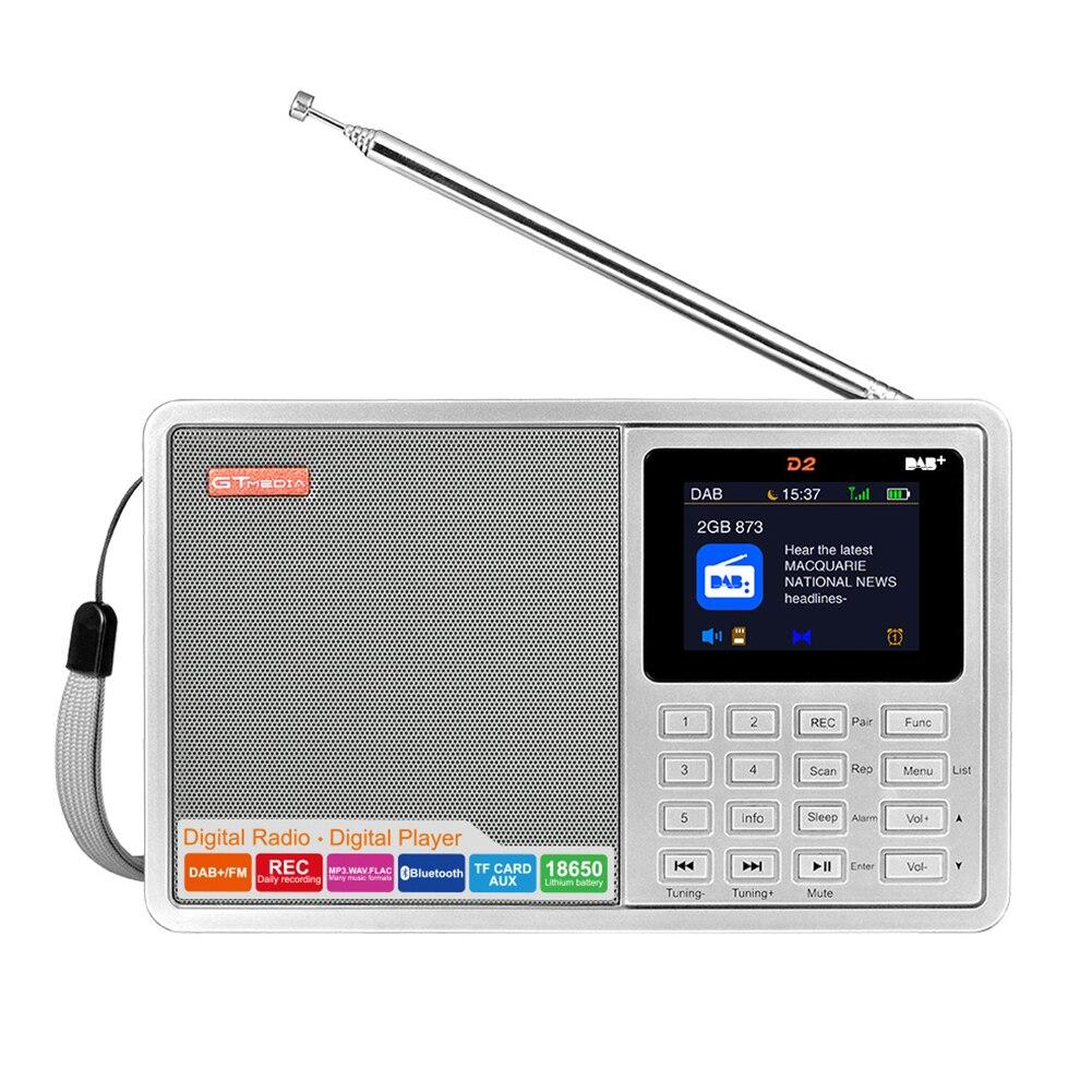 D2 2.4 pouces Portable Multi bande USB charge FM DAB couleur écran batterie alimenté sommeil minuterie insérer carte stéréo LCD affichage Radio
