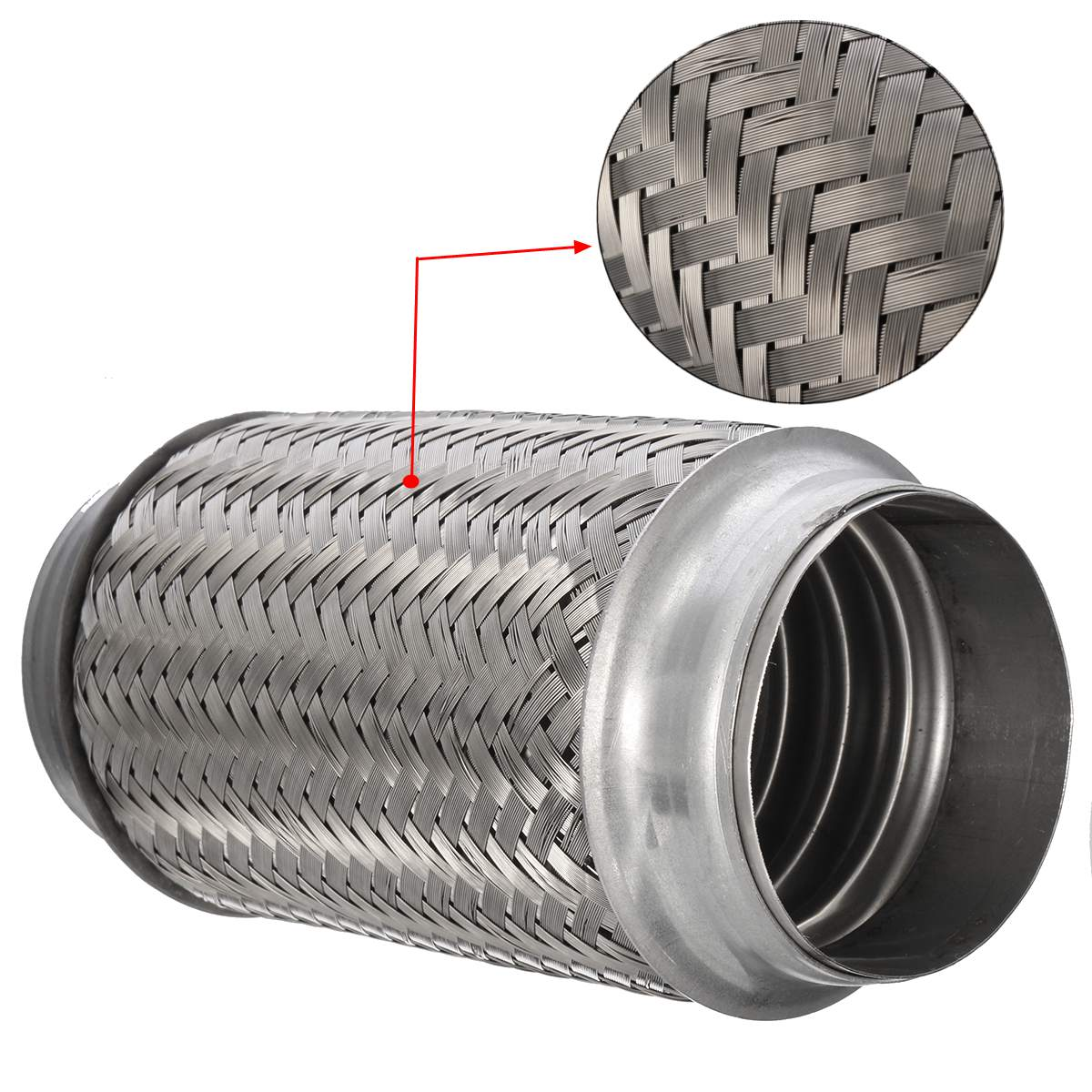 """2.25/"""" x 6/"""" STAINLESS STEEL WELD ON CAT REPAIR EXHAUST FLEXI 57mm x 150mm BMW 1"""