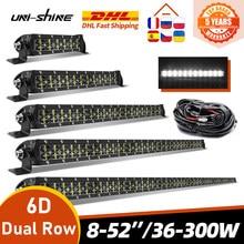 UNI-SHINE 6D 8 14 22 32 42 rampe d'éclairage 52 pouces Led projecteur COMBO double rangée lumière de travail conduite tout-terrain voiture tracteur camion 4x4 SUV