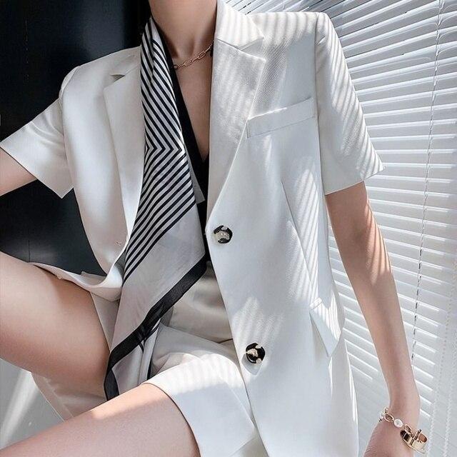Fashion Two Pieces Sets Women Elegant Scarf Short Sleeve Notched Blazer Jacket+Pocket Mini Shorts  Suits OL Female Outfits 2