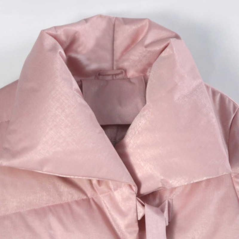 2019 moda damska kurtki luźne Parka ciepłe zimowe płaszcze damskie na co dzień zagęścić parki skręcić w dół kołnierz kobiety kurtki Plus rozmiar