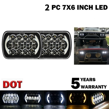 (Pair) 210W 5X7 Inch 7X6 Inch Projector High Low Beam Led Headlights with Angel Eyes DRL for Chevrolet Jeep Cherokee XJ H6054 H5