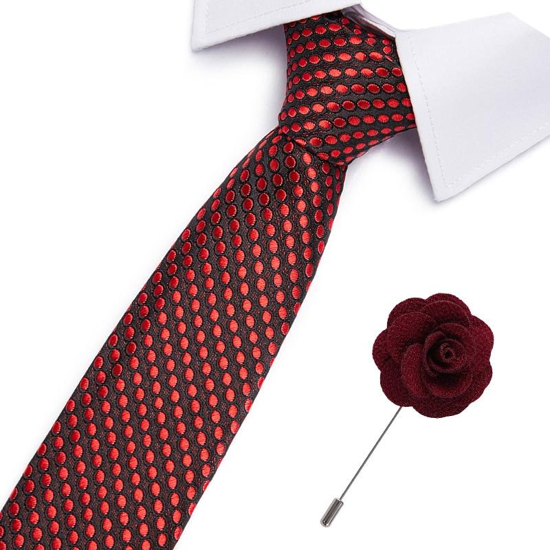 Drop Shipping Slim Tie Set Men Tie And Brooch Necktie Cravate Papillon Man Corbatas Hombre Pajarita 7.5cm Necktie Set & Brooch