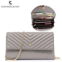 SC Small Elegant Genuine Leather Flap Day Clutch Bags for Women Chain Ladies Lamp Skin Card Cash Holders Purse Wallet Shoulder&