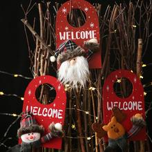xmas Hanging Ornament Wood Cloth Santa Claus Snowman Elk Xmas Decor Christmas Tree Ornaments Christmas Decoration for Home