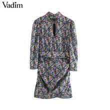 Vadim feminino doce floral padrão mini vestido manga longa plissado voltar zíper feminino casual elegante chique vestidos qd157