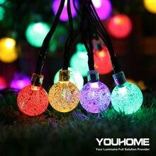 Светодиодный уличный светильник на солнечной батарее с кристальным шариком, водонепроницаемый светильник на солнечной батарее 5 м, 20 светодиодов, праздничный, Рождественский, праздничный, для двора и сада, декоративный светильник