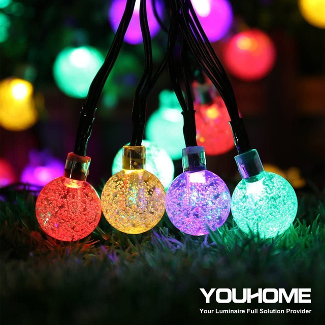 LED חיצוני שמש מנורת קריסטל כדור שמש אורות עמיד למים 5m 20 נוריות חג מסיבת חג המולד עבור חצר וגן קישוט אור