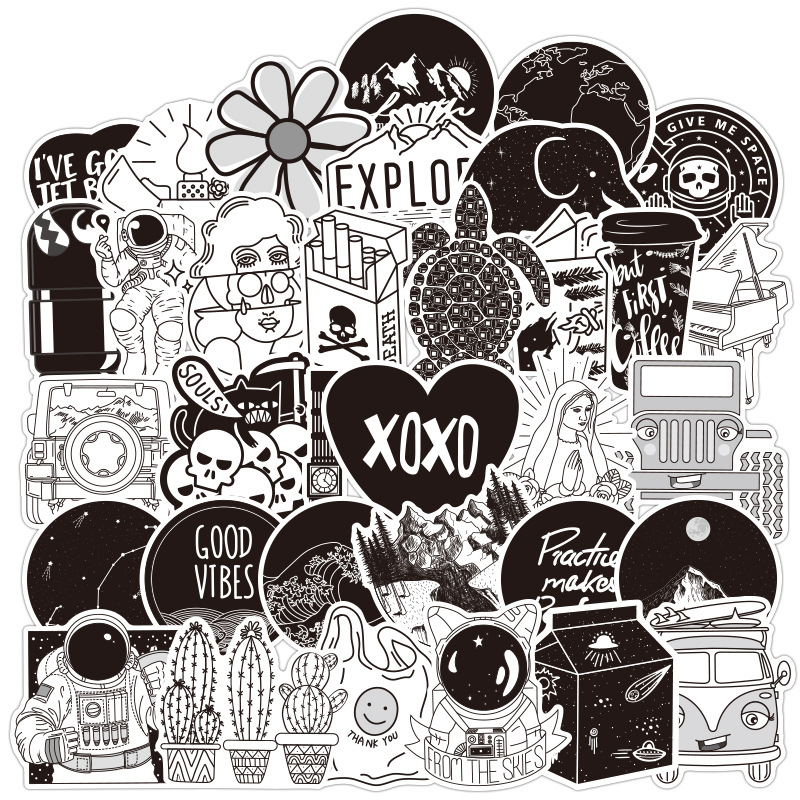 50PCS Black And White VSCO Girl Cartoon Sticker For Skateboard Laptop Suitcase Motorcycle Car Decal Toys Children Stickers LD