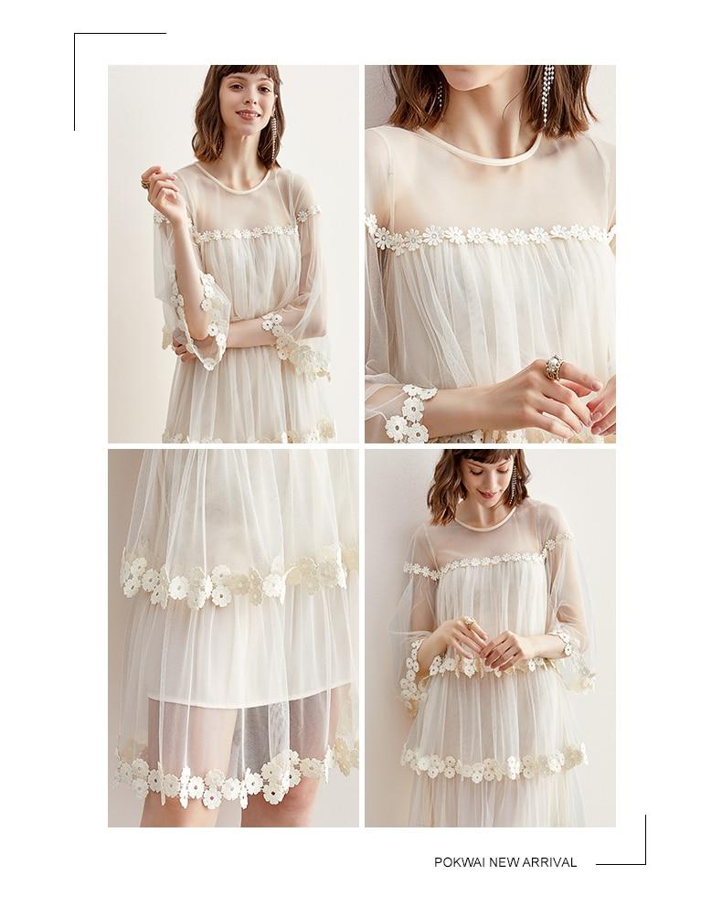 Image 5 - Пышная юбка средней длины с расклешенными рукавами и цветочным принтом; платье пачка из сетчатой тканиПлатья    АлиЭкспресс