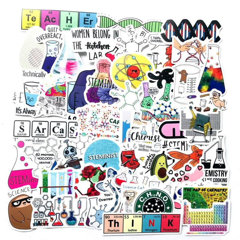50 шт. Science Lab Chemistry стикеры s, забавные наклейки для самостоятельного чемодана, ноутбука, мотоцикла, автомобиля, игрушки с наклейками для детей
