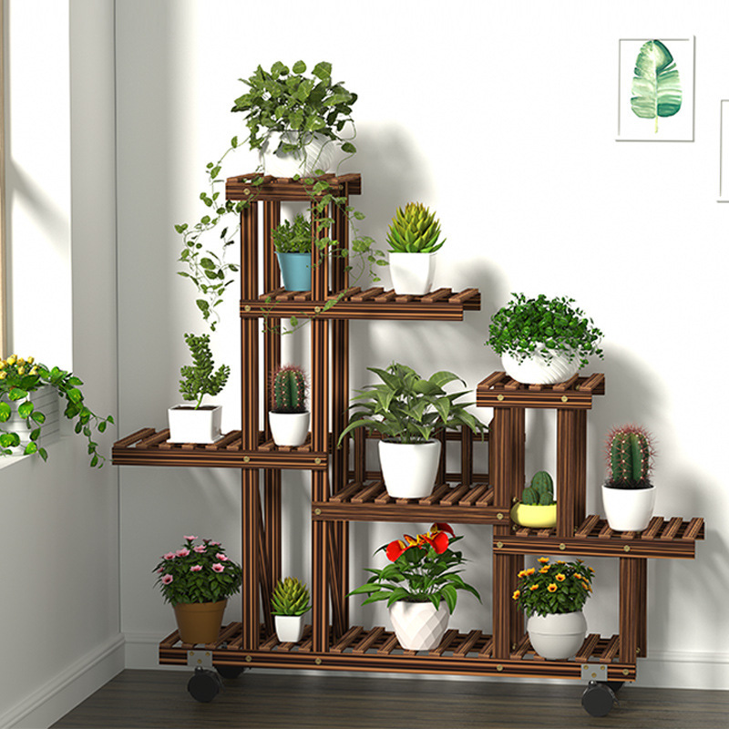 The Balcony A Hollow Interior Multi-layer Solid Wood Home Sitting Room Adornment Plants Aircraft Shelf Wooden Flower Pot