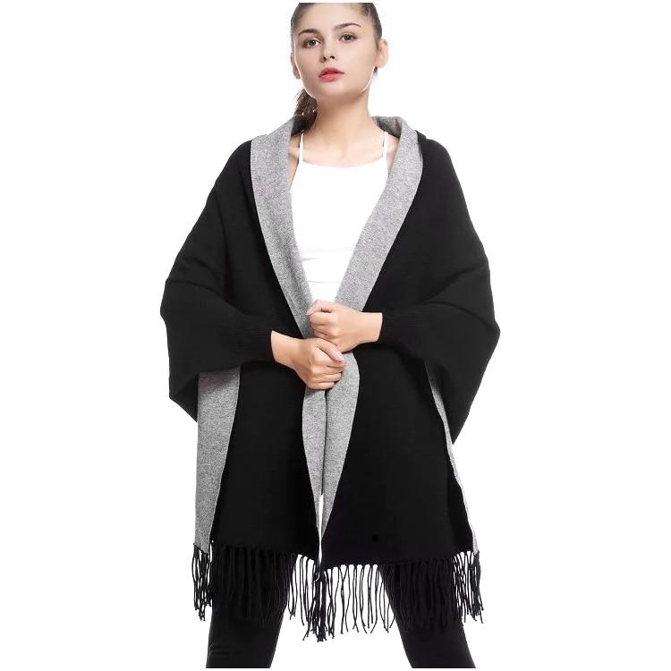 2019 hiver casual gland en vrac tricoté cachemire chauve-souris mode femmes Duplex châle à manches longues Cardigan longue épaisse Poncho Capes