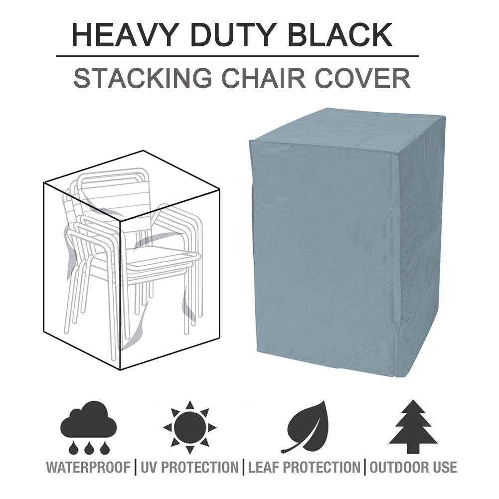 BBQ Veranda UV Protection Stacking Chair Cover Patio Garden Dustproof Drawstring Wear Resistant Outdoor Furniture Waterproof