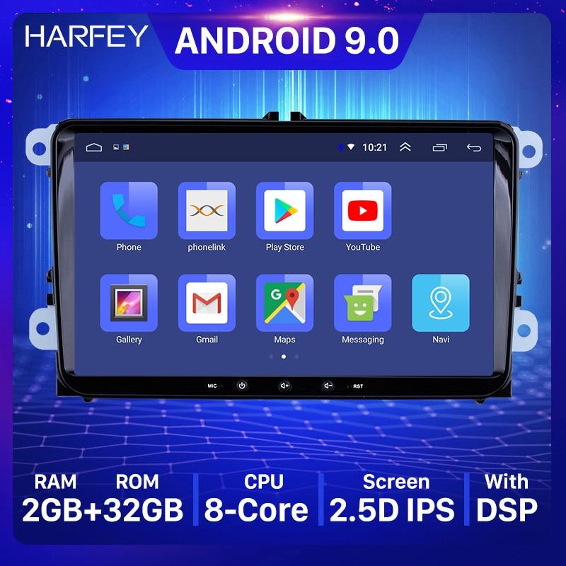 Harfey Android 9,0 2Din для VW/Volkswagen/Golf/Polo/Tiguan/Passat/b7/b6/leon/Skoda/Octavia автомобильный Радио GPS автомобильный мультимедийный плеер