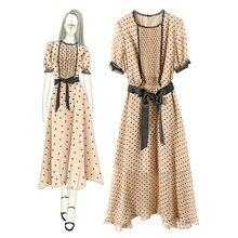 Женское кружевное платье в горошек элегантное облегающее европейском