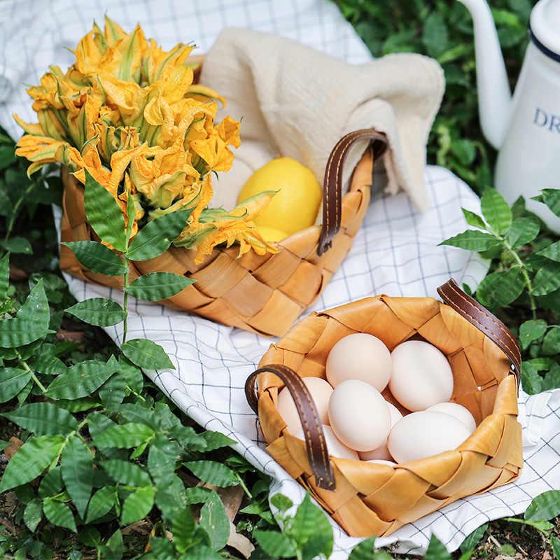 KINGLANG Japanischen handgemachte holz chip korb familie wohnzimmer obst brot korb wicker picknick korb