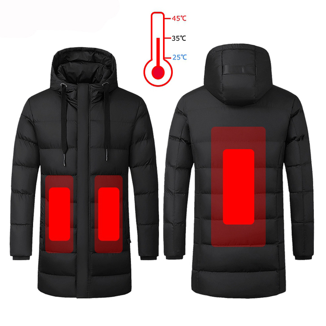 Men Winter Heated Hiking Jackets Women Warm Hooded Long Coats Outdoor Skiing Climbing Windproof Down Cotton Overcoat Plus Size