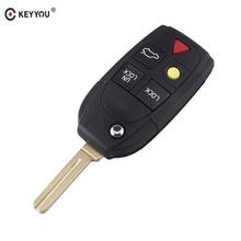 KEYYOU nowy zamiennik 5 przycisków kluczyk-pilot składany do samochodu dla Volvo XC70 XC90 V50 V70 S60 S80 C30 Fob obudowa kluczyka do samochodu tanie tanio For Volvo C30 For Volvo S80 In China For Volvo XC90