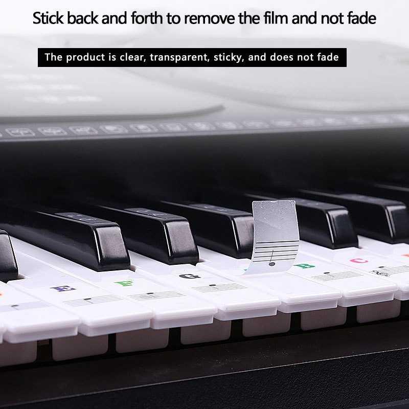 88/61/54/49 คีย์บอร์ด Universal เปียโนสติกเกอร์โปร่งใสแป้นพิมพ์แป้นพิมพ์มือเปียโนคีย์สติกเกอร์